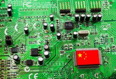 Chips made in China. Most of the chips of electronic products in the world come from the United States. In the trade war between the United States and China, the Stock Image