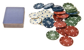 Chips and maps for a poker Royalty Free Stock Images