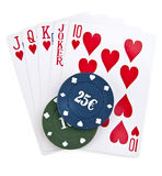 Chips and maps for a poker Stock Images