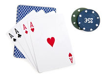 Chips and maps for a poker Royalty Free Stock Photography