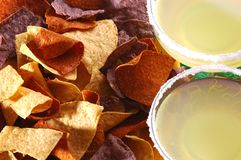 Chips and Margaritas. Three styles of Corn Chips and Margaritas Stock Photo