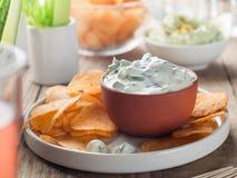 Chips met onderdompeling stock fotografie
