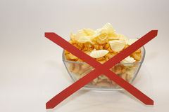 Gain weight. Chips not for diet Royalty Free Stock Photos