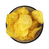 Chips with onions. A bowl of potato chips isolated on white background. Top view. Chips with onions. A bowl of potato chips isolated on white background. Top stock image
