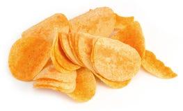 Chips op wit royalty-vrije stock foto