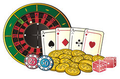 Chips with other objects. Roulette with cents and many objects of casino Royalty Free Stock Photo