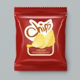 Chips Package With Label Template rojo realista ilustración del vector