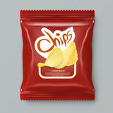 Chips Package With Label Template rouge réaliste Photos stock