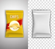 Chips Packaging Design. Chips realistic packaging design with blank white template and example isolated vector illustration vector illustration