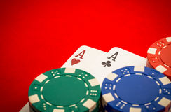 Chips and pair of aces Stock Photography