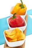 chips paprikapeppar Royaltyfri Fotografi