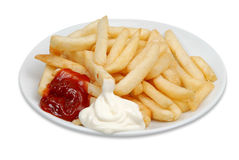 Chips Patatos ketchup Royalty Free Stock Photo