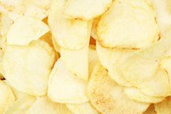 Chips pattern. Yellow salted potato chips as background. Chips texture studio photo. Food royalty free stock image