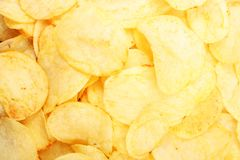 Chips pattern. Yellow salted potato chips as background. Chips texture studio photo. Food photo stock photo