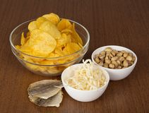 Chips, pistachios, dried squids and salty fish Royalty Free Stock Images