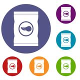 Chips plastic bag icons set. In flat circle red, blue and green color for web stock illustration