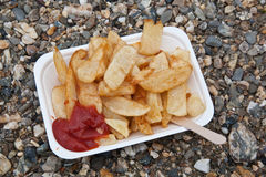 Chips on plastic tray Royalty Free Stock Photography