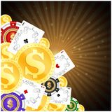 Chips playing cards and gold coins for gambling royalty free illustration