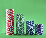 Chips for poker. On green background Royalty Free Stock Photos
