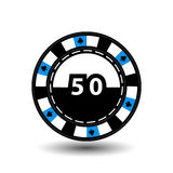 Chips for poker blue figure 50 in the middle  clab and a suit sideways. round  white dotted line . an icon on the  isolated backgr Stock Photography