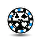 Chips for poker blue 50 in the middle and rectangles with a side. round  white dotted line . an icon on the  isolated background. Chips for poker blue 50 in the Royalty Free Stock Image
