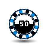 Chips for poker blue a suit 50 figure and  white dotted line the . an icon on the  isolated background. illustration eps 10. Chips for poker blue a suit 50 Stock Photography