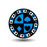 Chips for poker blue a suit an icon on the white isolated background. illustration eps 10 . To use  the websites, design, th Stock Image