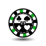 Chips for poker green 25 in the middle and rectangles with a side. round  white dotted line . an icon on the  isolated background. Chips for poker green 25 in Stock Image