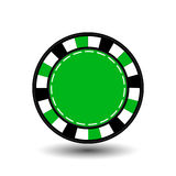 Chips for poker green in the middle a round and white dotted line the . an icon on the  isolated background. illustration eps 10 v Stock Photography