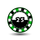 Chips for poker green a suit 25 figure and  white dotted line the . an icon on the  isolated background. illustration eps 10 vecto Stock Image