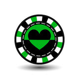 Chips for poker green a suit heart   black and white dotted line the . an icon on the  isolated background. illustration eps 10 ve Royalty Free Stock Image
