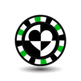 Chips for poker green a suit heart white black an icon on the  isolated background. illustration eps 10 . To use  the websit Royalty Free Stock Images