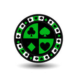 Chips for poker green a suit an icon on the white isolated background. illustration eps 10 . To use  the websites, design, t. Chips for poker green a suit an Stock Photo