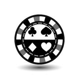 Chips for poker grey spade diamond in the middle and rectangles with a side. round  white dotted line . an icon on the  isolated b Stock Photos