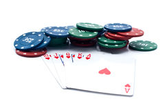 Chips of poker and playing cards Royalty Free Stock Photos
