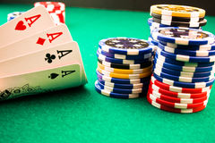 Chips poker and poker aces Royalty Free Stock Images