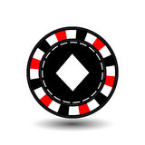 Chips for poker red diamond in the middle and a white dotted line the . an icon on the  isolated background. illustration eps 10 v Stock Photos