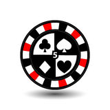 Chips for poker red four suits and figure five  a white dotted line the . an icon on the  isolated background. illustration eps 10 Stock Photo