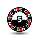Chips for poker red in the middle figure five and heart a suit sideways. round  white dotted line . an icon on the  isolated backg Royalty Free Stock Photography