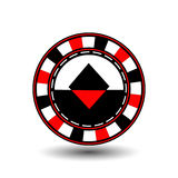 Chips for poker red a suit diamond  black an icon on the white isolated background. illustration eps 10 . To use  the websit Royalty Free Stock Photos