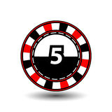 Chips for poker red a suit five figure and  white dotted line the . an icon on the  isolated background. illustration eps 10 vecto Stock Image