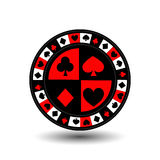 Chips for poker red a suit an icon on the white isolated background. illustration eps 10 . To use  the websites, design, the Stock Image