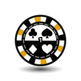 Chips for poker yellow one in the middle and rectangles with a side. round  white dotted line . an icon on the  isolated backgroun Royalty Free Stock Image