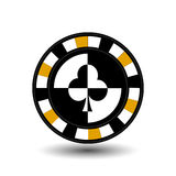 Chips for poker yellow a suit club white black an icon on the  isolated background. illustration eps 10 . To use  the websit Stock Photos