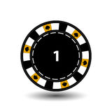 Chips for poker yellow a suit spade and white dotted line the . an icon on the isolated background. illustration eps 10 . vector illustration