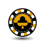 Chips for poker yelloy a suit club  yellow black and white dotted line the . an icon on the  isolated background. illustration eps Stock Image