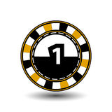 Chips for poker yelloy a suit one figure and  white dotted line the . an icon on the  isolated background. illustration eps 10 vec. Chips for poker yelloy a suit Royalty Free Stock Images