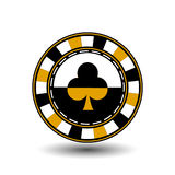 Chips for pokery a yellow suit club yelloy black an icon on the white isolated background. illustration eps 10 . To use  the Stock Image