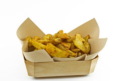 Chips Portion. Country french fries, takeout food Stock Photo