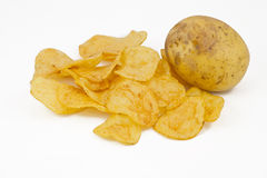 Chips and potato. Isolated on white royalty free stock image